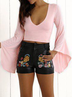Bell Sleeve Crop Top - Pink S