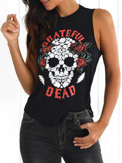 Skull Print Backless Tank Top - Black L