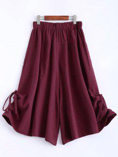 Elastic Waist Cropped Culotte - Red Xl
