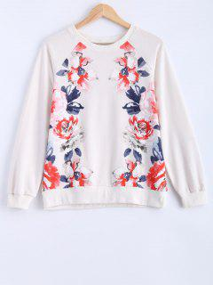 Round Neck Peony Printed Sweatshirt - Milk White S
