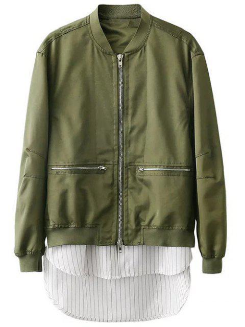 fashion Zipped Layered Hem Jacket - GREEN M Mobile
