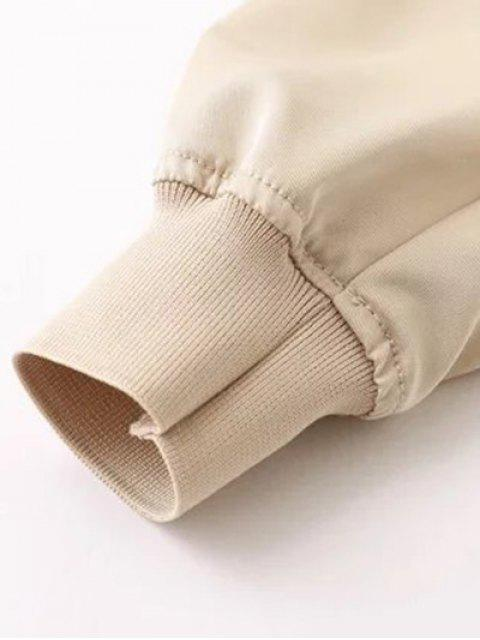 trendy Zipped Layered Hem Jacket - GREEN L Mobile