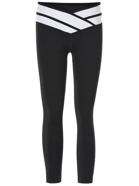 Pantalons Sporty Color Block Slimming Capri pour les femmes - Noir L Mobile