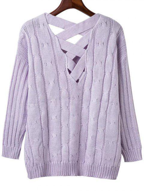 best Crisscross Back V Neck Sweater - LIGHT PURPLE ONE SIZE Mobile