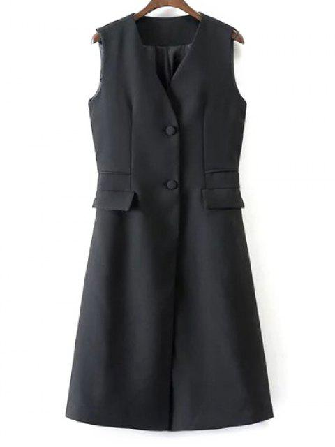 women V Neck Two Buttons Long Waistcoat - BLACK S Mobile