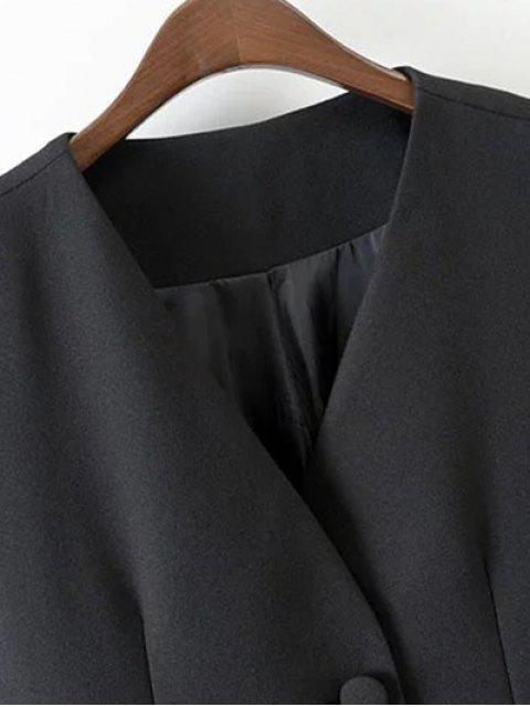 V Neck Deux boutons long gilet - Noir M Mobile