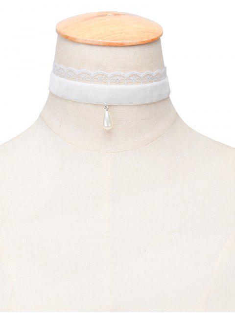 Gota del agua de perlas de imitación de terciopelo Gargantilla - Blanco  Mobile