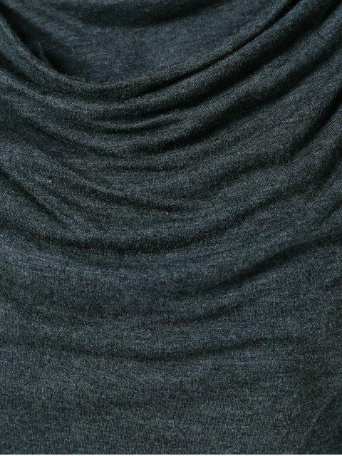 hot Draped Hoodie - BLACK GREY L Mobile