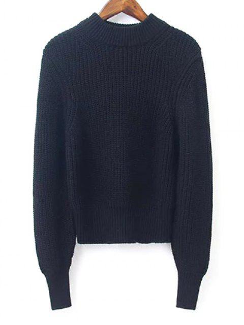 Crop Pullover mit  Laterne Hülsen und Stehkragen - Schwarz M Mobile