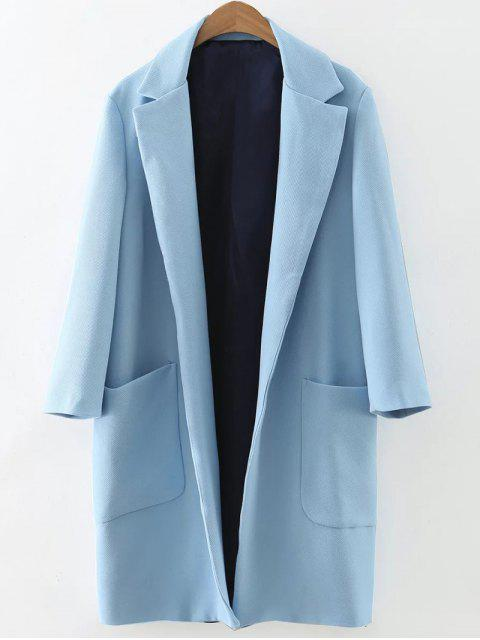 womens Pockets Lapel Collar Long Coat - LIGHT BLUE S Mobile