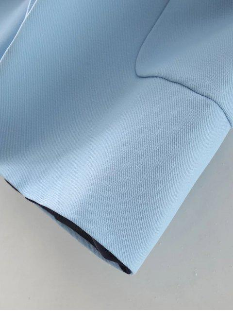 buy Pockets Lapel Collar Long Coat - LIGHT BLUE M Mobile