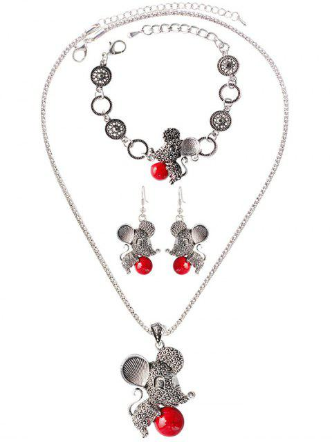 ladies Faux Rammel Ball Mouse Jewelry Set -   Mobile