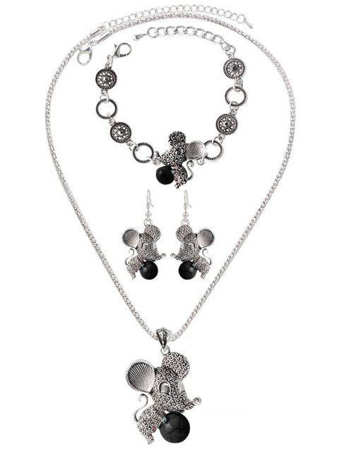 lady Faux Rammel Ball Mouse Jewelry Set - BLACK  Mobile