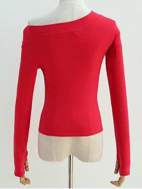 lady Sloping Shoulder Long Sleeve T-Shirt - RED S Mobile