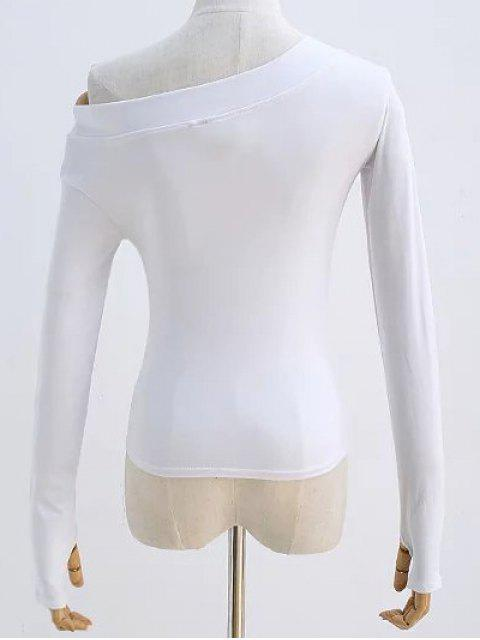 outfits Sloping Shoulder Long Sleeve T-Shirt - WHITE S Mobile