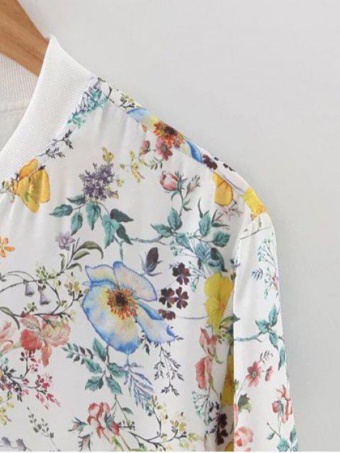 shops Tiny Floral Print Stand Neck Jacket - FLORAL M Mobile