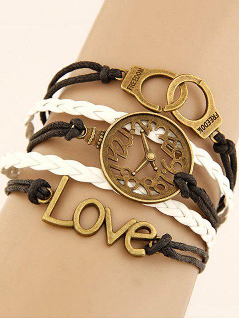 fashion Clock Handcuffs Braided Bracelet - COLORMIX  Mobile