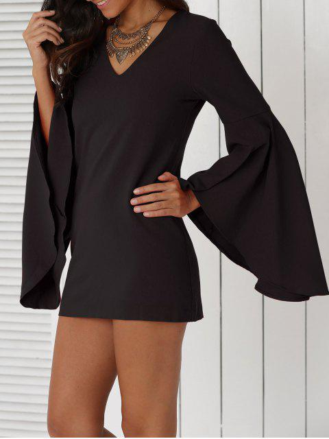 outfit Solid Color Plunging Neck Flare Sleeve Sheath Sexy Mini Dress - BLACK M Mobile