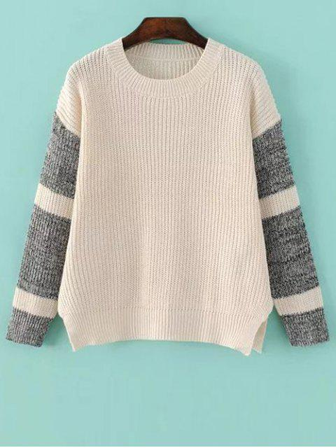 ladies Side Slit Color Block Sweater - LIGHT APRICOT ONE SIZE Mobile