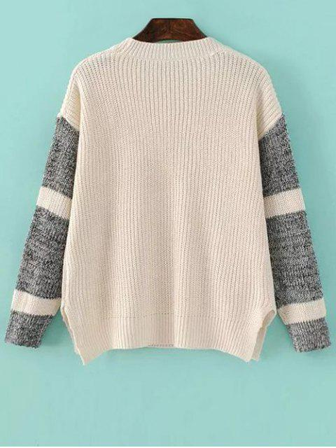 Side Slit Color Block Sweater - Abricot Clair TAILLE MOYENNE Mobile