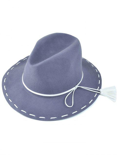 hot Tassel Lace-Up Felt Jazz Hat - GRAY  Mobile