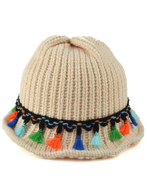 shops Tassel Pendant Lace-Up Knitted Beanie - OFF-WHITE  Mobile