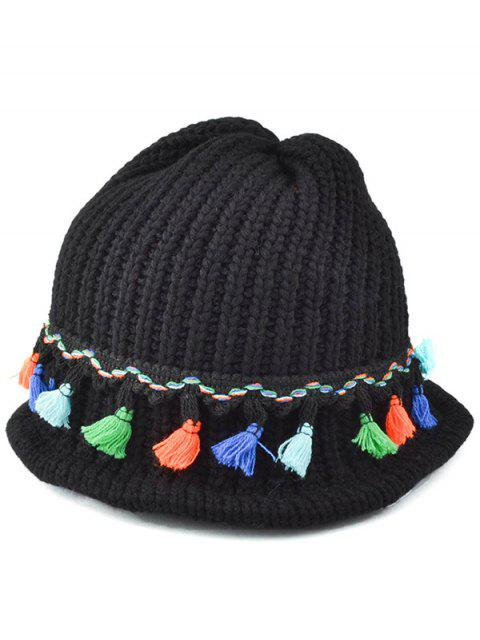 latest Tassel Pendant Lace-Up Knitted Beanie - BLACK  Mobile