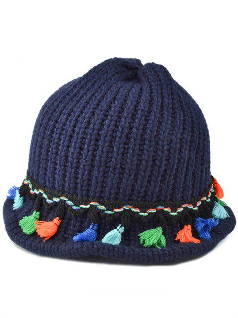 trendy Tassel Pendant Lace-Up Knitted Beanie -   Mobile