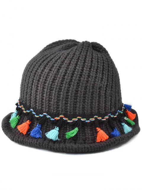 La borla colgante con cordones de punto Beanie - Negro Gris  Mobile