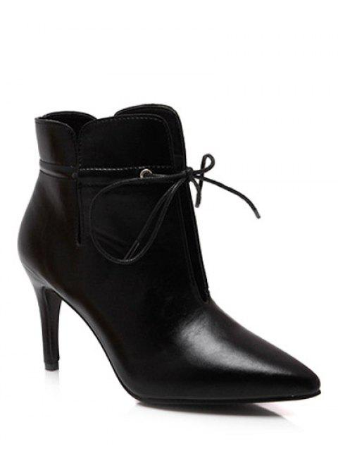 shops Tie Up Pointed Toe Stiletto Heel Boots - BLACK 37 Mobile