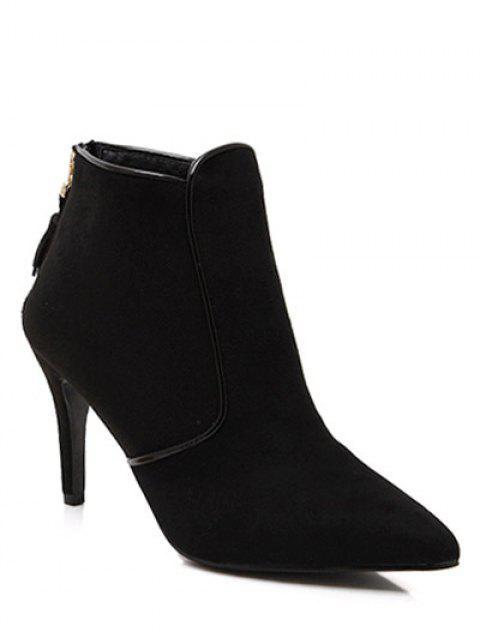 online Flock Tassels Zipper Ankle Boots - BLACK 38 Mobile
