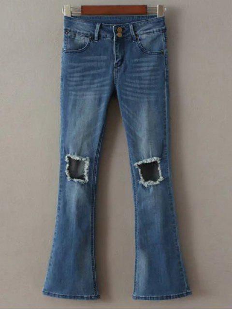 fancy Destoryed Boot Cut Jeans - DEEP BLUE S Mobile