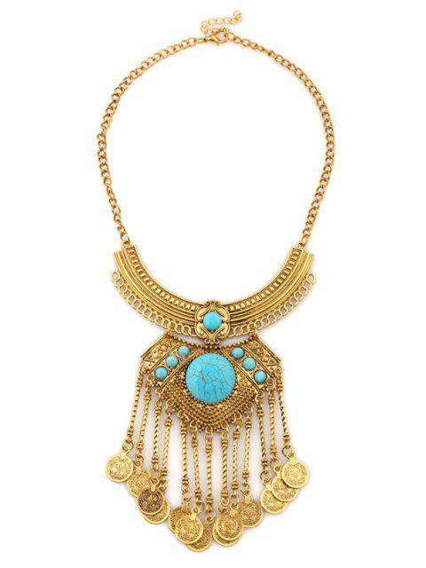 Collar de aleación de monedas en capas Luna Grabado - Azul+Dorado  Mobile