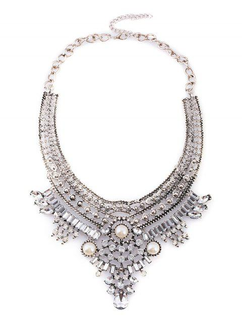 womens Fake Pearl Rhinestone Geometric Necklace - SILVER  Mobile