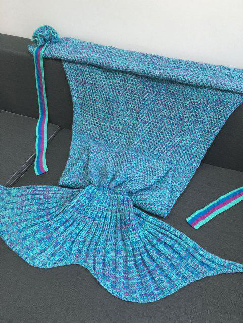 sale Knitted Flowers Decor Mermaid Tail Shape Blanket - LAKE BLUE  Mobile