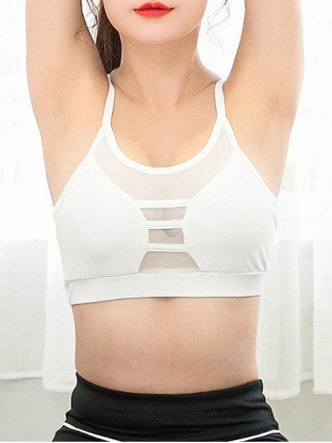 ladies Mesh Spliced Sheer Padded Yoga Bra - WHITE XL Mobile