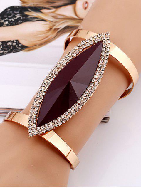lady Rhinestone Alloy Layered Leaf Cuff Bracelet -   Mobile