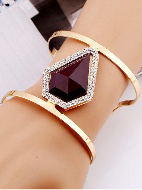 new Rhinestone Alloy Layered Geometric Cuff Bracelet -   Mobile