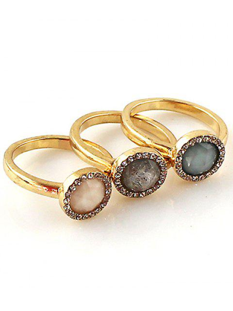 affordable Faux Opal Round Jewelry Rings Set -   Mobile