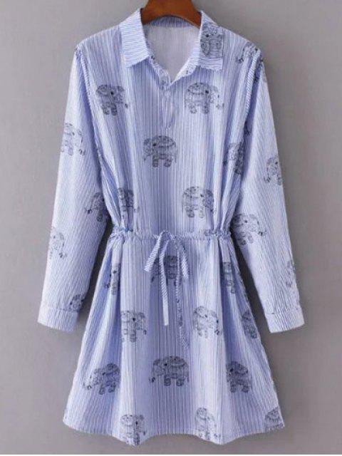 lady Elephant Print Striped Drawstring Shirt Animal Print Dress - LIGHT BLUE M Mobile