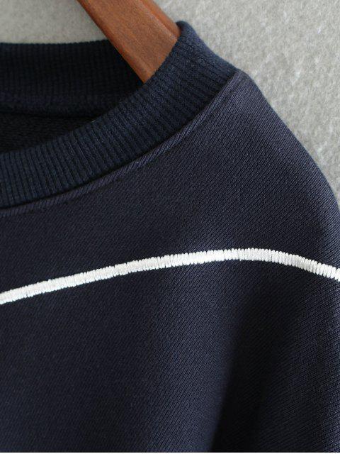 buy Embroidered Irregular Hem Sweatshirt - PURPLISH BLUE ONE SIZE Mobile