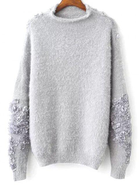 Floral apliques sudadera suéter - Gris Única Talla Mobile