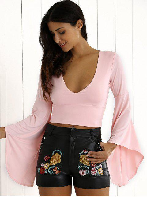 Manches cloche Crop Top - ROSE PÂLE S Mobile