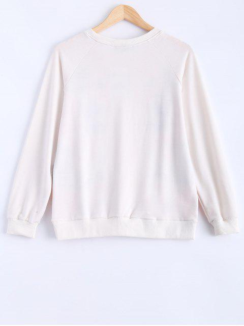 shop Round Neck Peony Printed Sweatshirt - MILK WHITE L Mobile