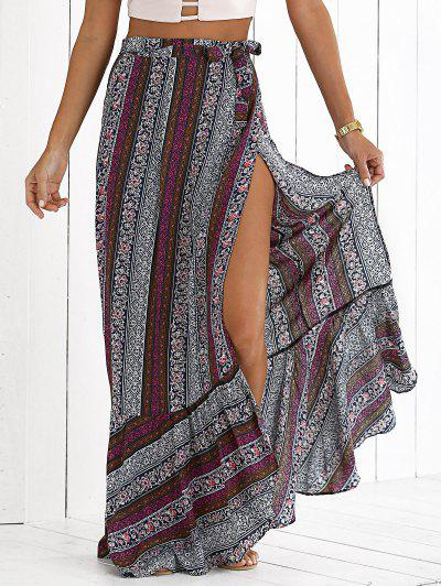 High Slit Bohemian Printed Maxi Skirt