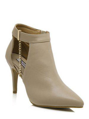 Cross Straps Eyelets Belt Buckle Short Boots - Light Khaki 38 sale ebay cheap sale pre order cheap fake 6GTgHTWj6