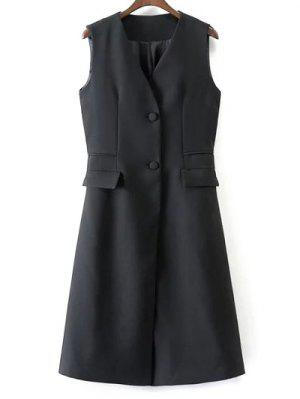 V Neck Two Buttons Long Waistcoat
