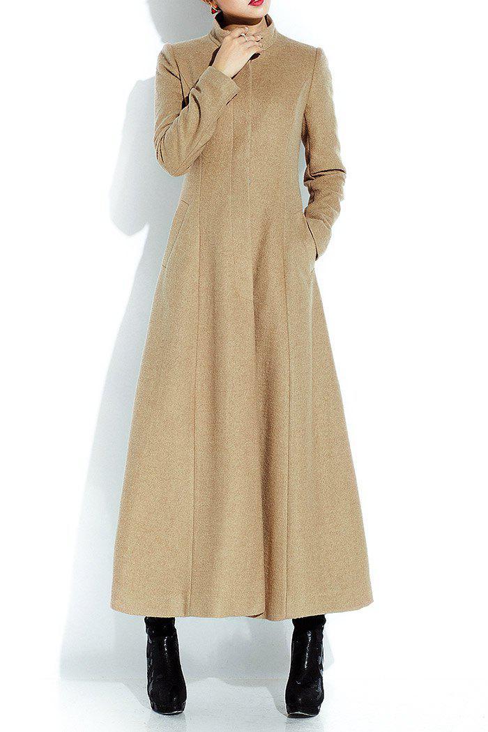 Wool Blend Ankle Length Coat, Light camel