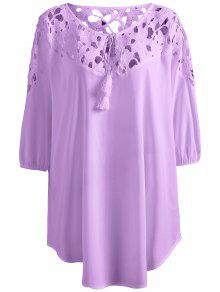 Plus Size Crochet Yoke Blouse - Light Purple Xl