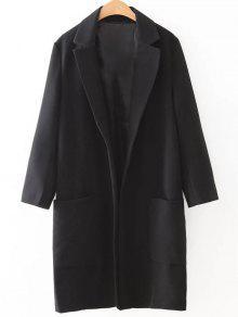 Pockets Lapel Collar Long Coat - Black M